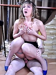 Dressy babe in suspender stockings seduces her date into a quick nylon fuck