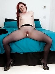 Vicki frigs with a vibrator in designer pantyhose