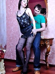 Hot-assed girl in dark patterned tights jumping on a boner for a mouthful