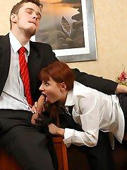 Stockinged secretary knowing how to seduce her lewd boss into nylon fucking