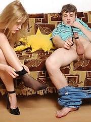 Nylon-addicted couple getting new sensation in their first nylon fucking