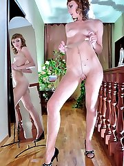 Doll-faced babe rams her toy thru her patterned from top to toe pantyhose