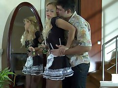 Upskirt maid getting groped and dicked in her sheer black tights and heels