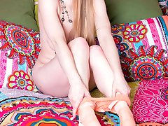 Lucy is having a swinging 60's style time with funkadelic pastel peach pantyhose! Groovy baby!