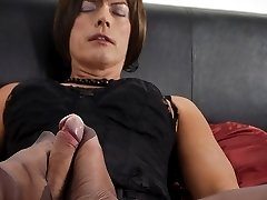 Horny Milf Nylon Jane wraps her nylon feet around this lucky Tgirls big cock, for an awesome nylon encased footjob