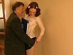 Young sec and her kinky old boss in nasty CFNM scene