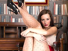 Sophia in dotty pantyhose showing all she has!