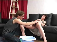 Boy Shaves and Eats Mom