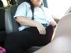 BBW Masrturbating and Orgasming in Car WF