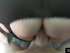 British emo babe fucking in fake taxi