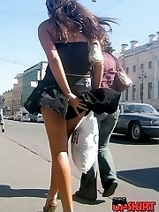 Upskirt flashing in public