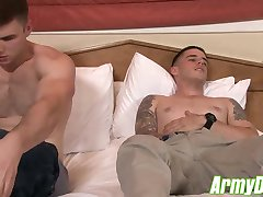 Two gorgeous muscular army hunks having hard and rough sex