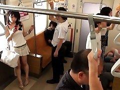 Japanese AV Model falls asleep in subway and PublicSexJapan.com