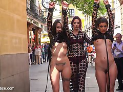 Silvia Rubi is back with two ready and willing slut slaves to parade and humiliate around town....