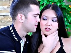 Shy oriental gal talked into passionate smooching followed by hardcore anal