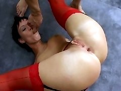 Anal cutie sits on cock