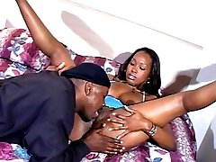 Hot-bodied ebony slut gets fingered and is ready to get fucked