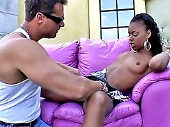 Long-legged ebony slut sucks cock and gets fucked by a hot guy