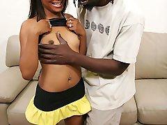 Light skinned ebony cutie gets a hard dark black cock fucking