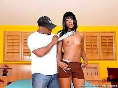 Shapely ebony hottie smoke a big black cock