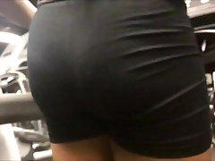 Slim Ebony Teen Booty in Spandex Shorts