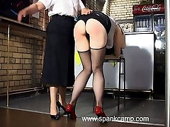 Beautiful girl with ripe ass kneels in the chair for brutal bare bottom caning - searing strokes