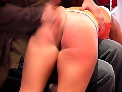 Cheeky young miss brutally caned on the bare - deep severe stripes
