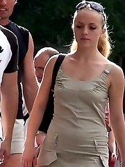 Look up a skirt, of beautiful teen blondie