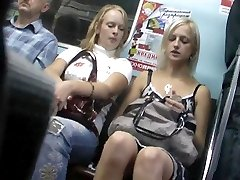 Subway upskirt of a blonde