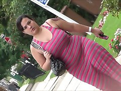 Latina Huge Tits  in summer Dress Candid