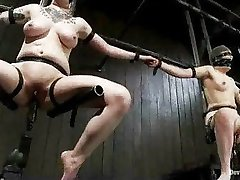 Strapped babes fucked by machines