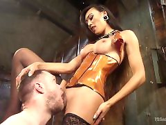 Willing Slave Takes TS Cock