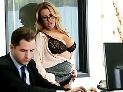 Busty office secretary banged over the table