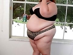 Big BBW Babe Undressing Showing Big Belly and Fat Butt