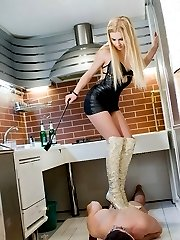 Disobedient slave neglected the household task and now gets punished by his mistress