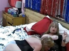 Sweltering shemale and frisky gal craving for pantyhose fucking in bathroom