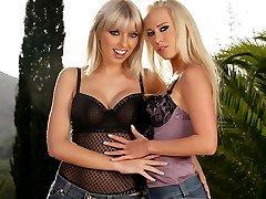 Stunning blonde fingers her friend