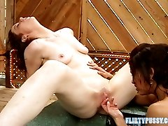 Hot tub dildo session with two hot sluts named Aliza and Sandy Simmers