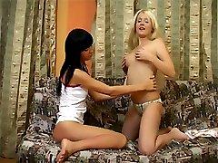 Sweet teen slut fucks her friend with a toy