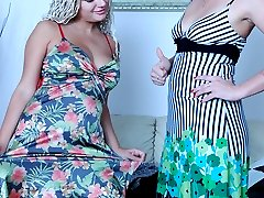 Frisky babes change into light dresses before wet lesbian pantyhose play