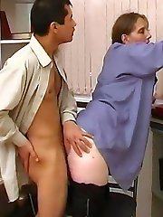 The lovely blonde sits on him to get his cock hard and then bends over so he can do her doggy...