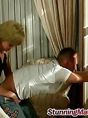 Classy mature blonde teases a guy and plays numbers game before hot banging