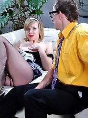 Sexy maid gets fucked for not wearing panties right thru her elegant tights