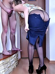 Teasing hussy in Cuban heel seamed hose banged in doggie and cowgirl style