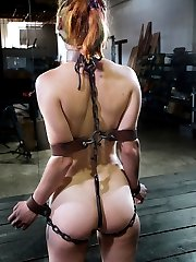 Kneeling, blindfolded and gagged with a headgear that affixes her head to a post, Calico is a mute lump of flesh for us to work over. The cane, vibrator and whip all make an appearance. Red welts quickly form stripes across her pale flesh, as the blindfold prevents her from anticipating the next blow. The vibrator elicits moans from beneath her strict gag as she squirms helplessly.