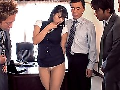 Sexy long Asian drops her pink panties to show off her goods