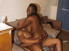 Black babe with braids banging the hell out of her man