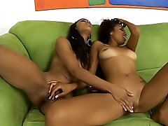 A couple of black lesbian hotties playing