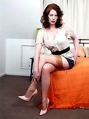 Redhead Holly in sheer panties and tan vintage RHT nylons