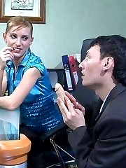 Bossy office babe licks and stuffs the rear of her cock-loving co-worker